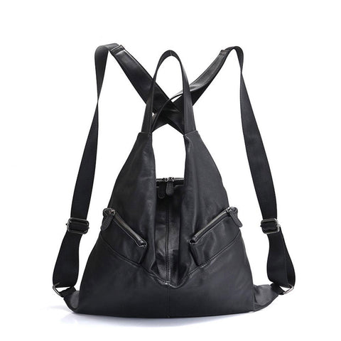 Backpack women girls unique style w100% cowhide genuine leather fashion travel knapsack schoolbag notebook
