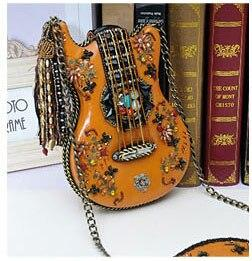 Bag women handbag handmade guitar modeling package retro beaded chain packet shoulder diagonal crossbody