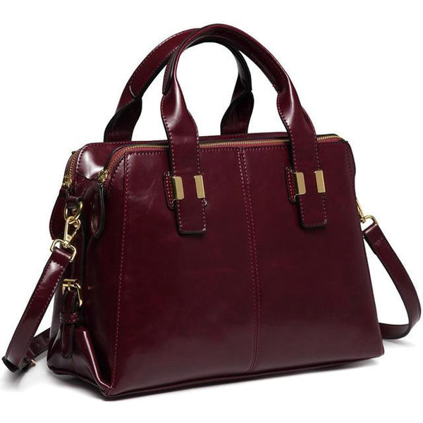 Bag for women faux patent leather satchel fashion top handle work tote purse with triple compartments briefcase