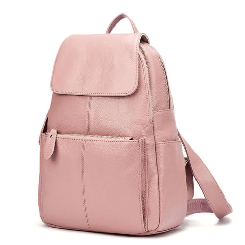 Backpack women 100% genuine leather fashion ladies travel bag preppy style schoolbags laptop knapsack