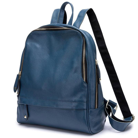 Backpack women 100% real leather fashion large capacity holiday knapsack preppy style schoolbag travel