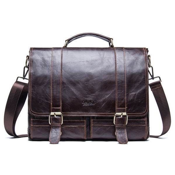 Briefcase men retro business shoulder bag leather handbag computer laptop messenger travel
