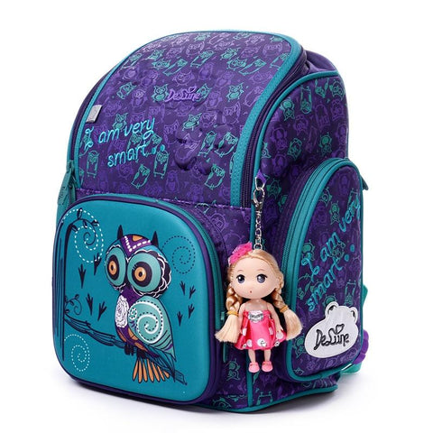 Backpack children for girls original animals pattern school bags owl bears orthopedic grade 1-3-5