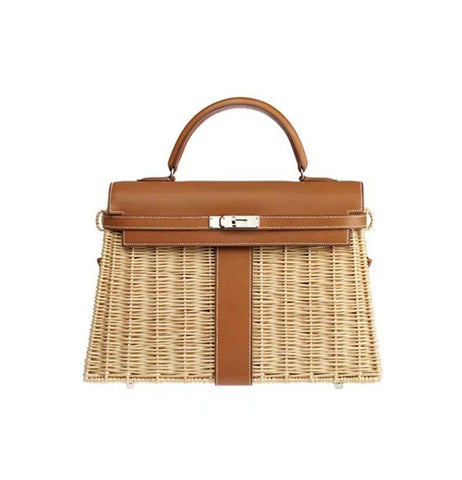 Handbag women's luxury rattan messenger pu handmade weaving summer beach
