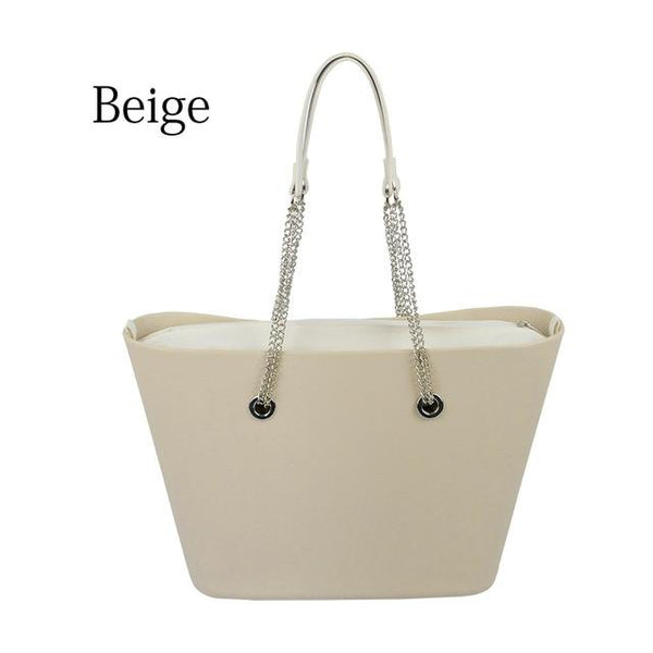 Bag women big with inner pocket long silver chain handles style waterproof shoulder