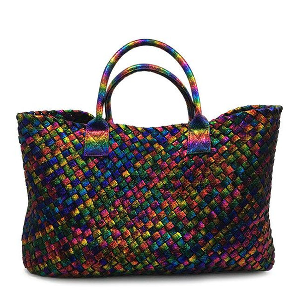 Handbags women fashion weave large totes woven big shopping bag faux leather shoulder purse