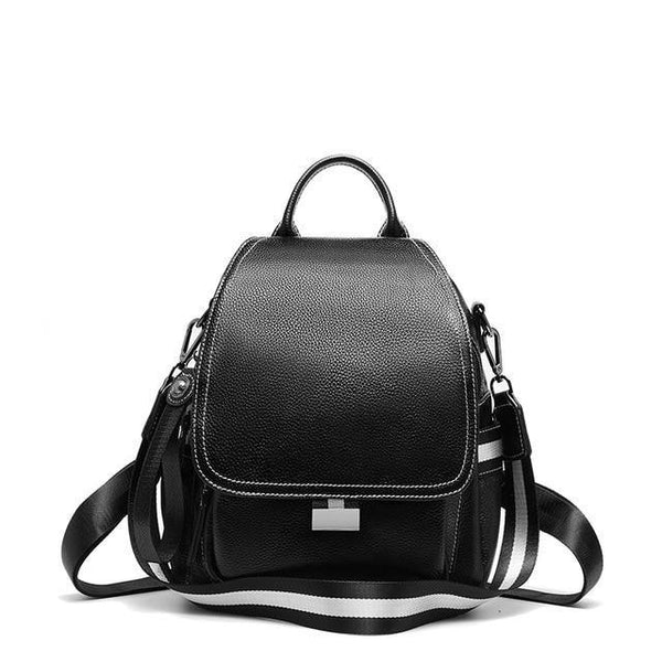 Backpack women leather bags for school travel shoulder cow genuine fashion famous