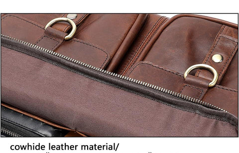 Briefcase for men work office genuine leather messenger laptop business document