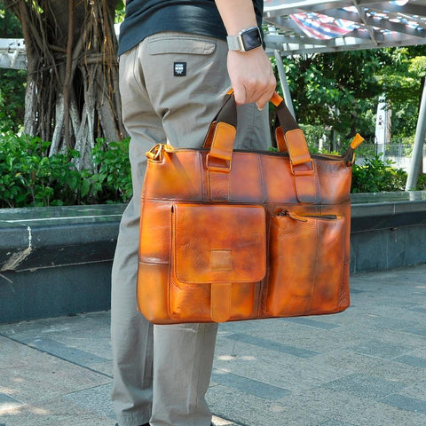 "Briefcase men genuine leather office business 15.6"""" laptop case attache portfolio bag messenger"