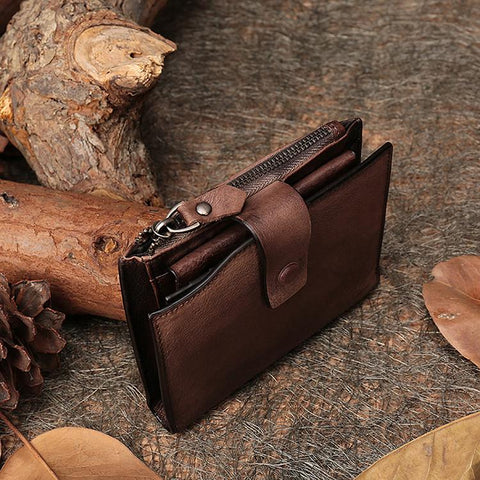 Wallet women handmade genuine leather purse clutch bags hasp short style card holder