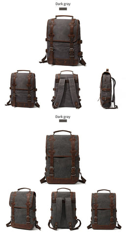Backpacks teenagers large capacity canvas leather waterproof school daypacks wearproof vintage