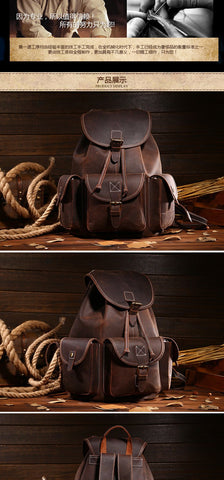 Backpack male cowhide first layer computer bag school vintage genuine leather
