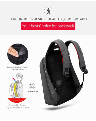 Backpack men fashion 15.6 inch anti theft waterproof business casual school schoolbag