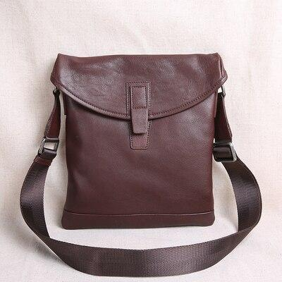 Bag men's the first layer of leather ultra-thin casual small shoulder messenger