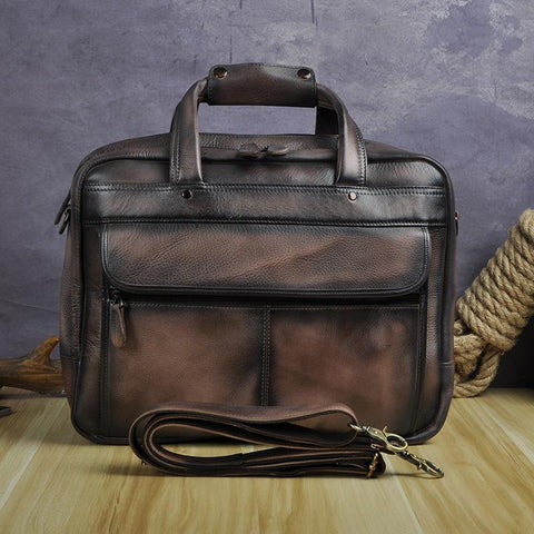 "Briefcase men real leather antique style business 15.6"""" laptop cases attache messenger bags portfolio"