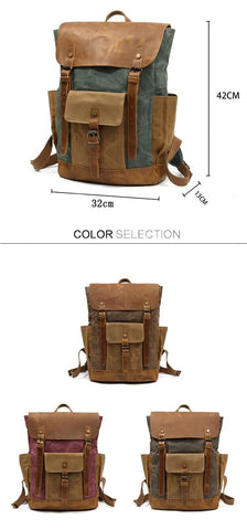"Backpacks unisex oil wax canvas cow leather waterproof rucksacks 15"""" laptops large capacity vintage"