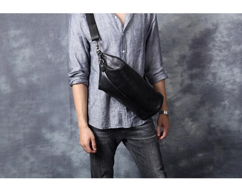 Bag male personality casual head cowhide single shoulder crossbody leather cylinder pack
