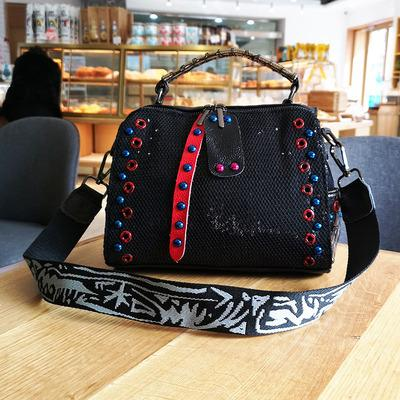 Bags women totes luxury shoulder sequins snake pattern leather rivets crossbody
