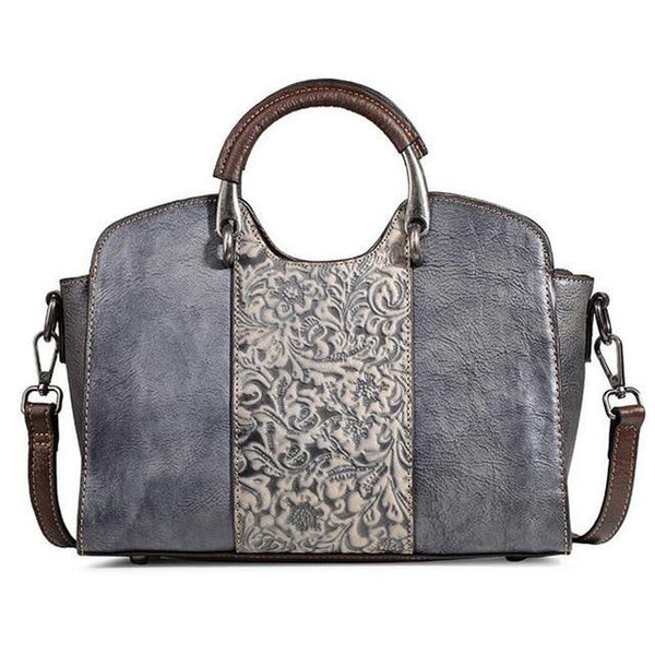 Bags women genuine embossed leather messenger top handle retro handbag totem pattern natural skin shoulder tote