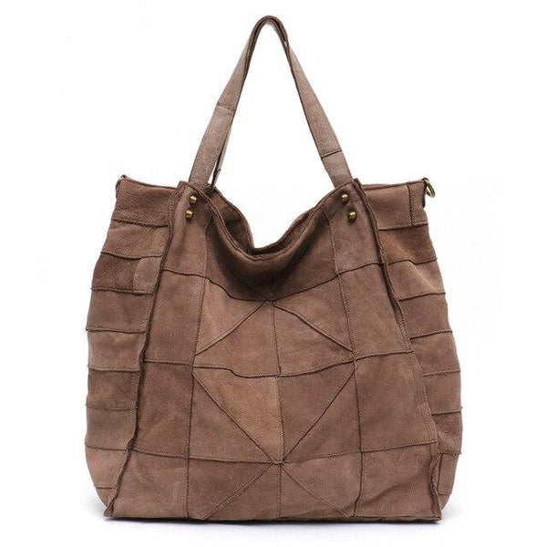 Bags women vintage splice leather shoulder real messenger large quilted patchwork tote