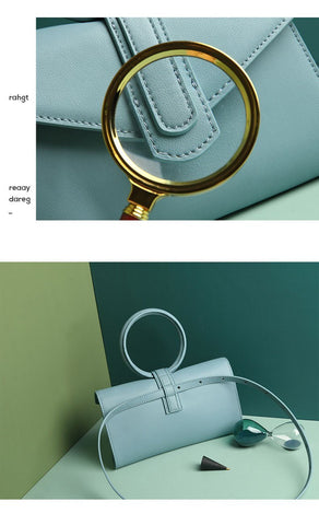 Bags women cow leather round-handle envelope messenger day clutches waist