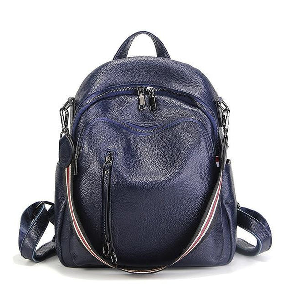 Backpack women genuine leather travel bag shoulder