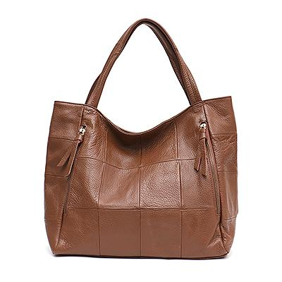 Bags women genuine leather shoulder retro style patchwork real large tote vintage casual handbag purse