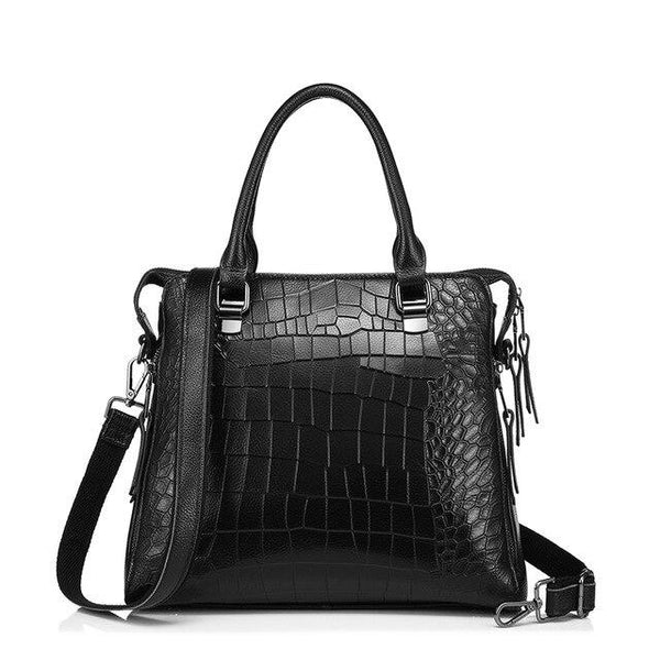 Handbag women brand genuine leather tote bag for work briefcase luxury alligator embossed top-handle shoulder