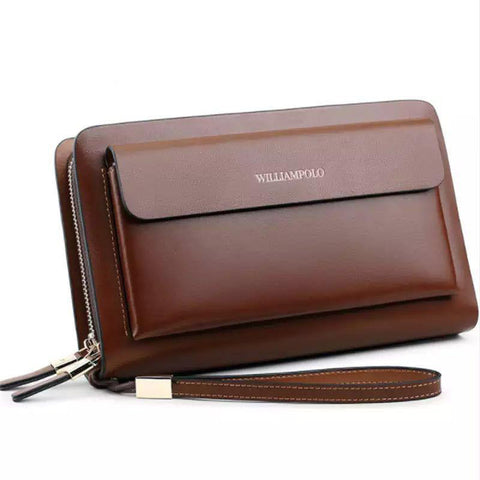 Wallet men business brand clutch real leather phone credit card organizer large fashion zipper hand bag