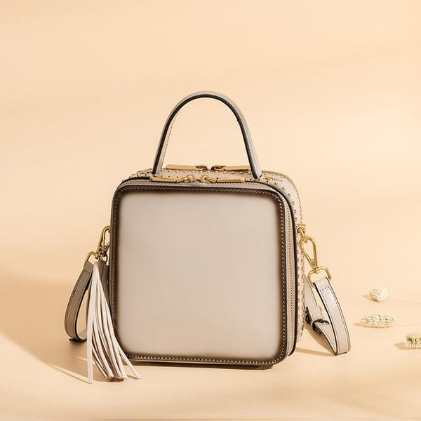 Bag women mini tassel genuine leather messenger box shaped handbags rivet shoulder