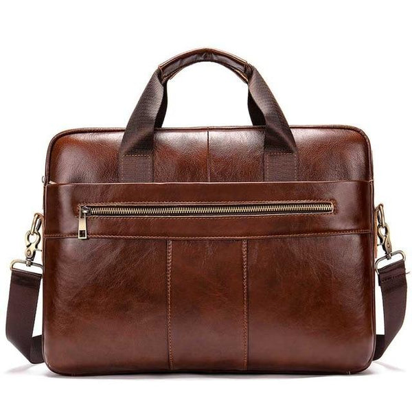 Briefcase men's bag leather laptop office genuine computer business handbag