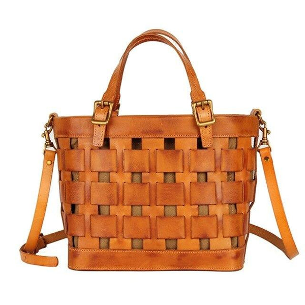 Handbags real leather top layer cowhide hand-woven retro casual shoulder messenger