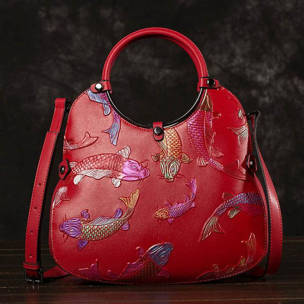 Handbag women real cowhide embossed tote messenger bag national style fire fish genuine leather shoulder bags