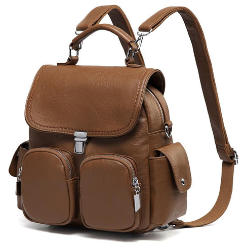 Backpack women purse anti theft small convertible pu leather shoulder