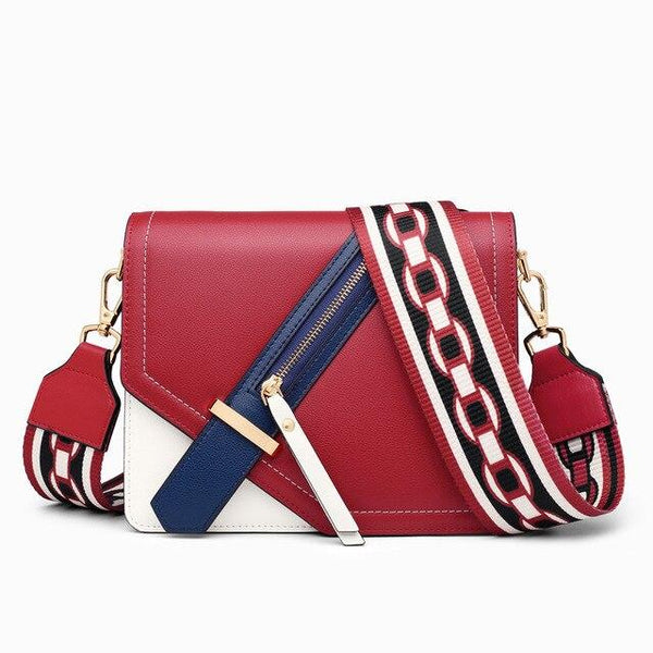 Bags women folk-custom panelled flaps crossbody hasp shoulder fashion leather messenger