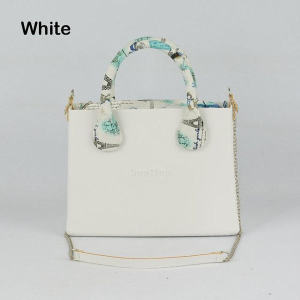 Bag women square with floral handles shoulder chain insert waterproof style rubber