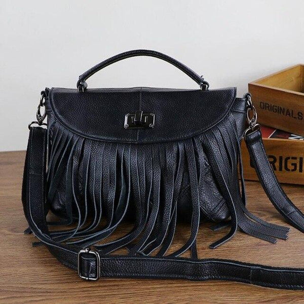 Bags women fringed tassels splice real cowhide polychromatic splicing luxury handbags shoulder