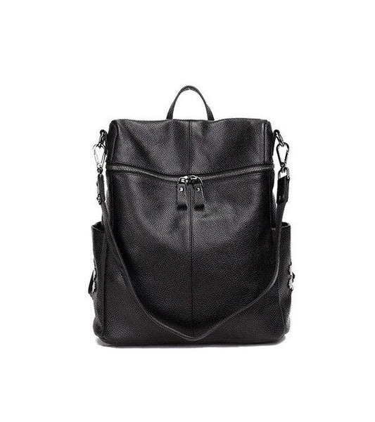 Backpack women's fashion vintage genuine leather casual simple daily large capacity cowhide bookbag