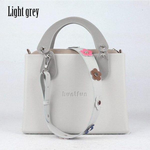 Bag women square with concise curved handle rivet flower strap leather inner pocket style handbag