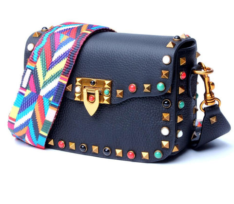 Bag women genuine leather rivet brand designer shoulder luxury flap camouflage width strap crossbody