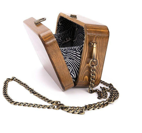 Bags women's handmade wooded box nature arbor unique chain day clutches luxury retro shoulder wood messenger