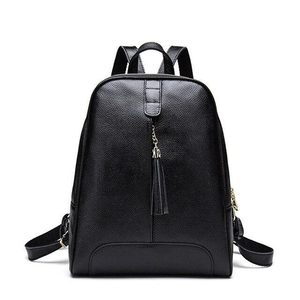 Backpack women teenager genuine leather travel bag tassel natural cowhide school daily