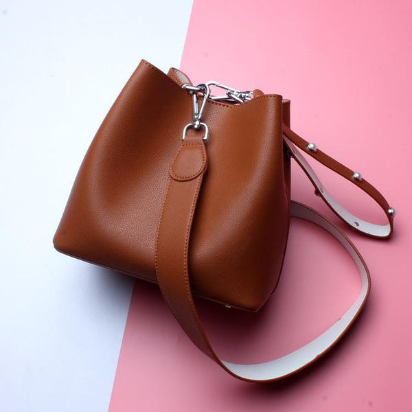 Bags women fashion strap genuine leather bucket shoulder crossbody