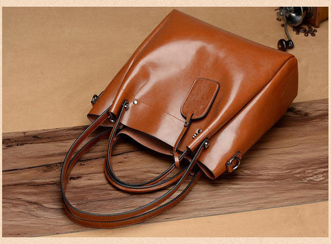 Bag women 100% genuine leather strap camel big capacity handbag fashion luxury single shoulder packet