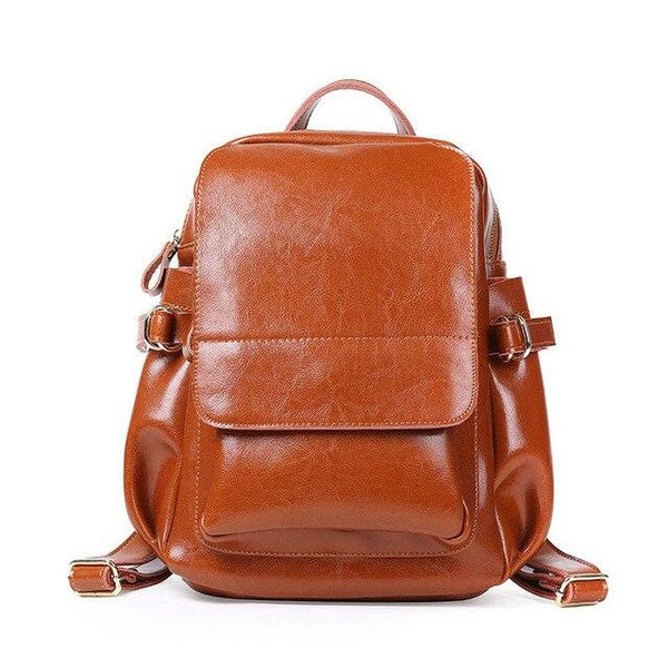 Backpack women luxury designer oil wax real leather large shoulders travel