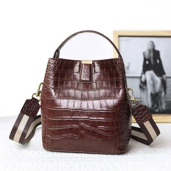 Handbags women luxury alligator pattern full genuine leather bags designer shoulder brand design vintage bucket