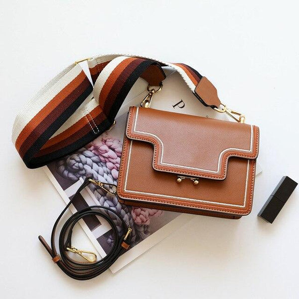 Bag women fashion genuine leather small flap luxury handbags designer shoulder crossbody