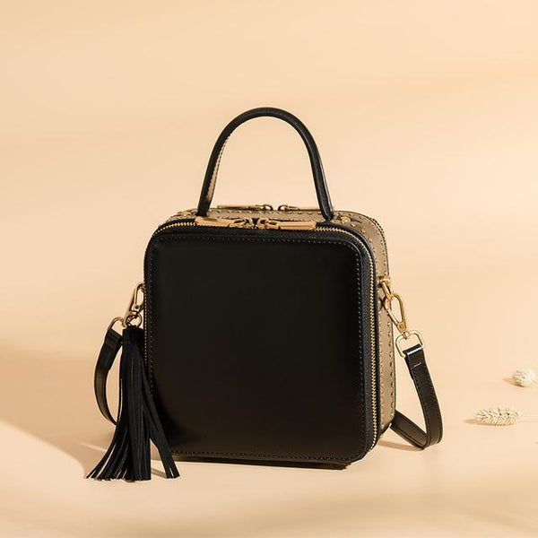 Bag female slung portable shoulder genuine leather rivet shoulder small square retro tassel pouch
