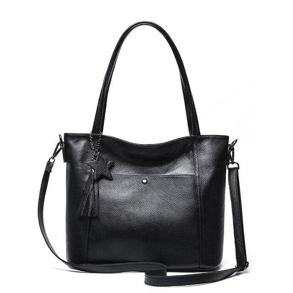 Handbag women genuine leather solid zipper soft shoulder bag causal crossbody