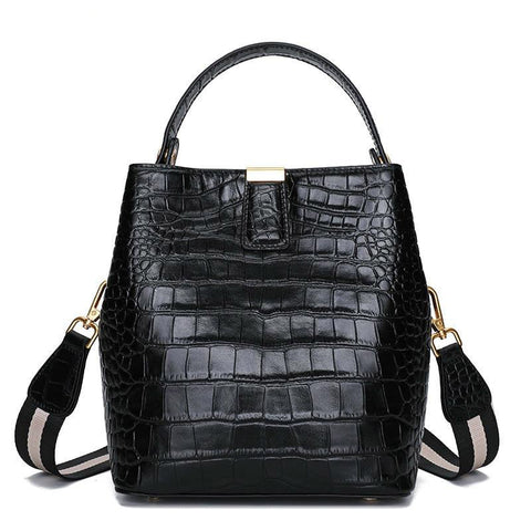 Bag women 100% genuine leather handbag fashion crocodile grain casual tote large capacity shopping elegant shoulder